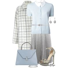 Baby Blue and Gray Style by kginger on Polyvore featuring Carven, J. JS Lee, J.W. Anderson, Pelle Moda, Valextra, Blue Nile, Pearlyta and Dorothy Perkins