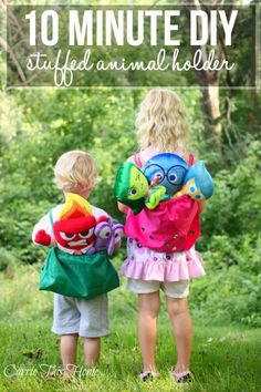 Super easy & fun project to do with the kids! This will make your kids favorite plush characters easy to take anywhere!  10 Minute DIY Stuffed Animal Holder #InsideOutEmotions #Ad