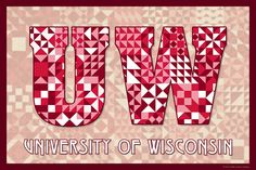 The Quilted University of Wisconsin - Madison.  Susan Davis, owner of Olde American Antiques and American Quilt Blocks, has created a series of original quilt block designs for universities and colleges in the United States.  Each of these designs is unique with a distinct color combination using the school colors and a matching border to enhance the overall pattern. These are the first quilt block designs created specifically for universities and colleges and are new to the quilting hobby.