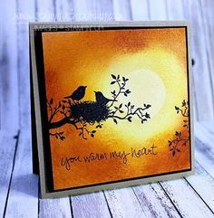 handmade card ... Worldofdreams ... silhouette of birds on a branch ... brilliant sponged sunset sky in background ... Stampin' Up!
