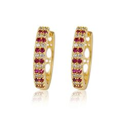 Calors Vitton Women Jewelry Gold Plated Round Cubic Zirconia Huggie Hoop Earrings Multicolor 15 by Calors Vitton -- Awesome products selected by Anna Churchill