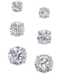 Cubic Zirconia 3-Pc. Set Graduated Stud Earrings in 14k Gold or 14k White Gold - White