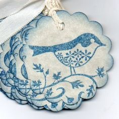 Items similar to Little Blue Bird On A Branch Gift Tags / Favor Tags / Hang Tags / Labels / Vintage Style - Set Of 8 on Etsy Christmas Tag, Christmas Crafts, Blue Christmas, Favor Tags, Gift Tags, Do It Yourself Wedding, Brown Paper Packages, Wedding Store, Pretty Pastel