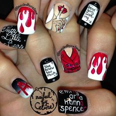 Pretty Little Liars fake nails Wow Nails, Cute Nails, Pretty Nails, Sexy Nails, Pll, Prety Little Liars, Nagel Blog, Halloween Nails, Nails Inspiration