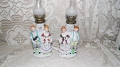 Vintage Porcelain Courting Couples Oil Lamps Set by FabulousFinds1, $19.99