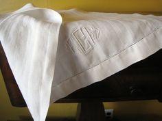 Antique Bath Towel Circa 1910 Arts and Crafts Monogram ECF White Tea Linen Beautiful Heavy Damask Victorian Textiles. $15.00, via Etsy.
