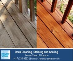 http://branson.renewcrewclean.com – Renew Crew of Branson's deck cleaning process begins with cleaning the wood to remove dirt, mold and grim. Then we apply a professional wood stain and sealant to protect the wood for a great looking deck. We serve Branson plus Stone and Taney Counties. Free estimates.