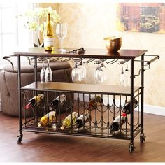 Harper Blvd Tuscany Espresso/Black Wine Bar Cart Serving Table