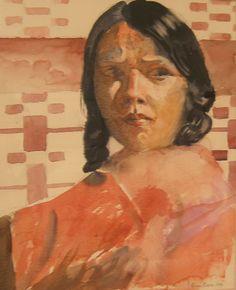 Brian Baxter: Amerindian Girl People, Painting, Art, Art Background, Painting Art, Paintings, Kunst, People Illustration, Drawings