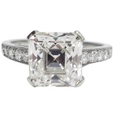 Art Deco Asscher Cut GIA Cert 3.05 carat Diamond Engagement Ring | From a unique collection of vintage engagement rings at https://www.1stdibs.com/jewelry/rings/engagement-rings/