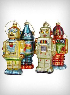 Retro Robot Glass Ornaments - Set of 4