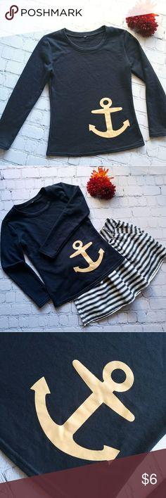 Navy Blue Anchor Sweater - Women's Small Cute navy blue sweater with gold anchor on it. Pairs great with Rachel & Cloe skirt!!! Sweaters Crew & Scoop Necks