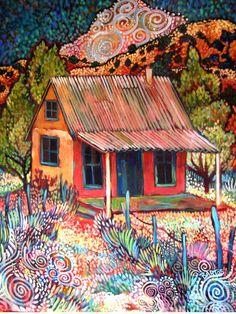 La Casita de Suenos Rojos by Sally Bartos, New Mexico artist. Her work is available from bartos on Etsy.