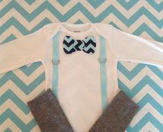 Reserved - Baby Boy BowTie Onesie, Suspenders add 1 SZ NB, 3, 6, 9, 12, 18 & 24 Months. $20.00, via Etsy.