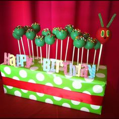 The Very Hungry Caterpillar inspired cake pops that I made for a very special 1 year old.