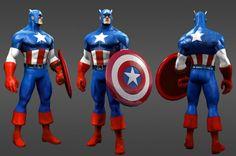 Captain America  game character design model 3d best game femail girl
