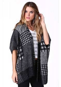 Open Cardigan in Black and White