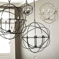 Orb Chandeliers. Already pinned the Restoration Hardware version. What I want in our foyer.