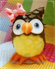 Coruja EM Biscuit 20 cm (Owl in Cold Porcelain)