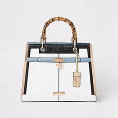 309723014c White lock front bamboo handle tote bag. Faux Leather ...