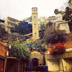"""The Bolognese-style High Tower Elevator in Hollywood. The elevator takes you up to a walking street, called Broadview Terrace, which was modeled after Positano, Italy. The Carl Kay-designed duplex adjacent to the tower was featured as Philip Marlowe's apartment in the 1973 classic """"The Long Goodbye."""" Kay built the elevator when his wife got sick of always taking the stairs."""