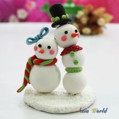 Snowman couple Christmas clay doll Xmas Santa Claus by AsiaWorld, $24.90