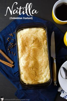 Natilla is a Colombian custard-like dessert made with milk cinnamon and coconut. This sweet treat is traditionally served alongside fried Buñuelos at Christmas time. Get the recipe at InSearchOfYummyne. Colombian Desserts, Colombian Cuisine, Colombian Recipes, Filipino Desserts, Cuban Recipes, Vegetarian Recipes, Delicious Desserts, Dessert Recipes, Yummy Food