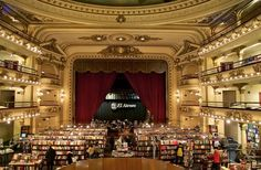 16 Bookstores You Have To See Before You Die ~~~ These sixteen incredible bookstores have both the looks and the books. Each store has 2 photos. The first is: 1A. El Ateneo Grand Splendid in Buenos Aires, Argentina