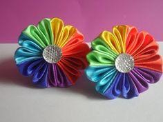 ▶ hand made : Радужный цветок Канзаши - YouTube