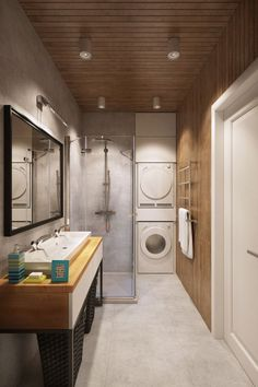 Apartment : Lovely Small Apartment In Moscow Designed By Geometrium - Cool Small Bathroom Decorating Idea in Apartment In Moscow By Geometrium with Vanity Sink and Black Wicker Baskets and Wall Mirror also Small Shower Area and Wood Wall and Ceiling Panels and Washing Machines medium version