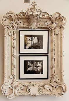 Cool idea to use an older, larger, more ornate frame around smaller pictures in simple frames. Shabby Chic Ireland: Romantic Shabby Chic - Bedroom furniture Think I would prefer a mirror in this beautiful frame or maybe an oil! Romantic Shabby Chic, Shabby Chic Homes, Shabby Chic Decor, Romantic Cottage, Bedroom Romantic, Modern Shabby Chic, Shabby Chic Mirror, Shabby Cottage, Modern Decor