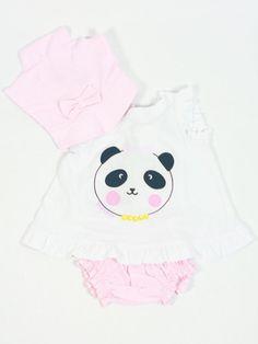 5e4b082a7 Conjunto bebe niña playa rosa tres piezas pañoleta, camiseta y ranita rosa José  Varón -