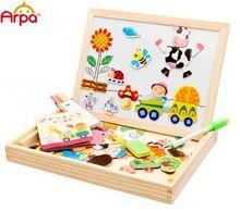 Multifonctionnel éducatifs ferme Jungle animaux en bois magnétique Puzzle jouets pour enfants enfants Puzzle bébé dessin chevalet conseil(China (Mainland))