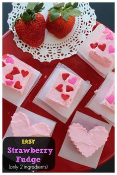 Easy Strawberry Fudge Recipe. Only 2 ingredients!