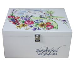 Personalised Wooden Keepsake Boxes & Memory Boxes large painted & lacquered wood for ladies, men, girls, boys. Browse boxes designed all ages & occasions. Wedding Memory Box, Wedding Keepsake Boxes, Wooden Keepsake Box, Wedding Keepsakes, Wedding Gifts, Diy For Teens, Crafts For Teens, Diy For Kids, Beautiful Pictures With Quotes