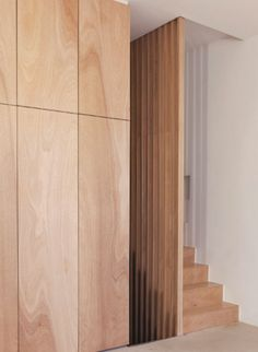 plywood + escalier + placards by Guillaume Terver & Christophe Delcourt Plywood Interior, Interior Stairs, Interior Architecture, Interior And Exterior, Interior Design, Plywood Furniture, Plywood Wall Paneling, Wall Panelling, Wood Panel Walls