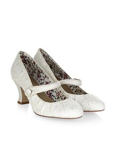 Walk down the aisle in these vintage-inspired court shoes, adorned with pretty embroidery, pleated details and Mary Jane-style straps. Curved, mid-high heels provide a little extra height.