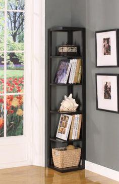 King's Brand BK08 Wood Wall Corner 5-Tier Bookshelf Case, Espresso Finish - #bookshelf., 5Tier, BK08, Brand, Case, Corner, Espresso, Finish, King's, Wall, Wood