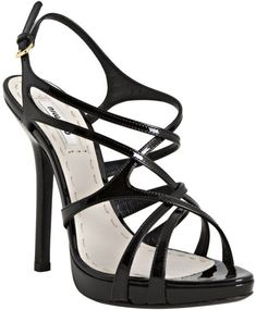 Miu Miu - Black Leather Crisscross Strappy Sandals - product images  of