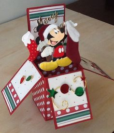 in a Box - Christmas Disney Mickey Mouse Card In A Box, Pop Up Box Cards, 3d Cards, Folded Cards, Xmas Cards, Holiday Cards, Card Boxes, Easel Cards, Disney Christmas Cards