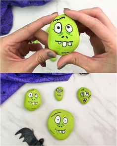 Learn how simple it is to make these zombie painted rocks! They're a great art activity for kids to do for Halloween or any time! Halloween Activities For Kids, Art Activities For Kids, Diy Crafts For Kids, Rock Painting Ideas Easy, Rock Painting Designs, Painting For Kids, Pebble Painting, Pebble Art, Stone Painting