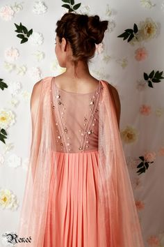 Carnation Georgette pleated gown by Renee label
