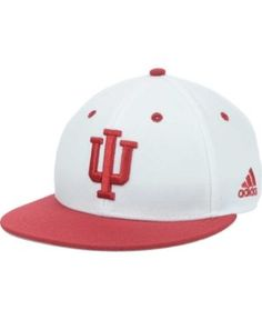 adidas Indiana Hoosiers Ncaa On-Field Baseball Cap - White/Crimson 7 3/8