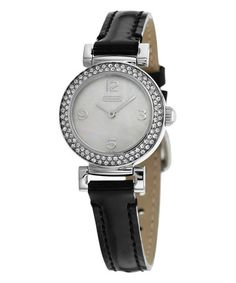 Look what I found on #zulily! White Mother-of-Pearl & Crystal Bezel Madison Leather-Strap Watch #zulilyfinds