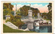 1930 Postmarked Postcard Lake and Bridge Public Gardens Boston Massachusetts MA