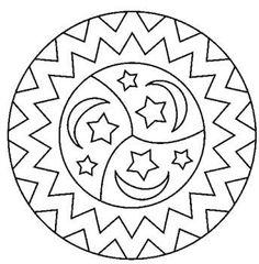 Mandala Etoile Mandalas Coloriage Margit Ernstsen Sun Moon And Stars Coloring