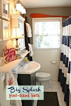 Nautical+bathroom+west+elm+shower+curtain,+ladder+oar+navy+kids+bathroom.jpg 1,067×1,600 pixels