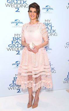 """Blushing """"Bride"""" from Fashion Police  Nia Vardalos is radiant in a blush eyelet dress for the premiere of My Big Fat Greek Wedding 2 in Sydney. The actress plays up the sweetness of the dress with nude pumps and an understated white clutch."""
