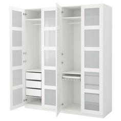 IKEA - PAX, Vaatekaappi, perussaranat, , 10 vuoden takuu. Lisätietoja ja takuuehdot takuuvihkosessa.Tätä valmista PAX/KOMPLEMENT-kokonaisuutta on helppo muokata omia tarpeita vastaavaksi PAX-suunnittelutyökalun avulla.Jotta tavarat olisi helppo pitää järjestyksessä, kaappiin kannattaa hankkia KOMPLEMENT-sarjan sisusteita.Säädettävien jalkojen ansiosta seisoo tukevasti myös epätasaisella alustalla.