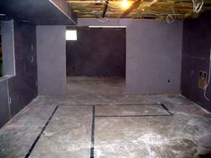 Dry wall installed in basement remodeling project